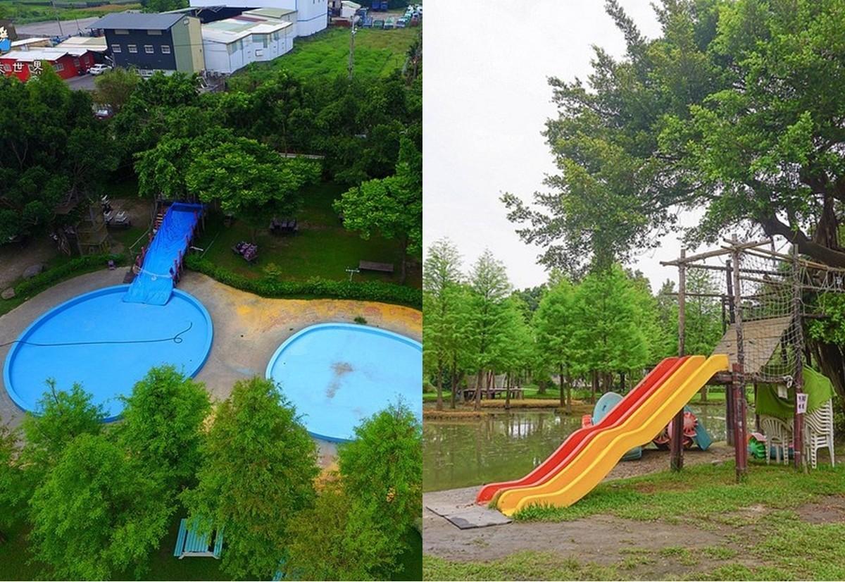 彰化親子玩水去|沐卉親子農場:占地1.5公頃,滑水道,溜滑梯,手搖船,沙坑,噴泉,可愛的小動物,露營聖地!夏天就是要玩水! @小腹婆大世界