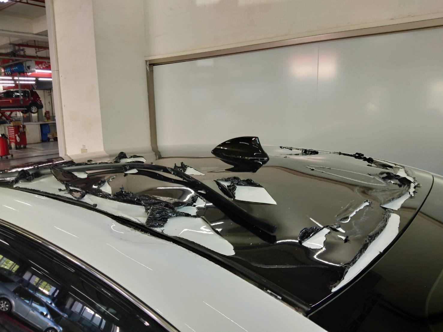 NISSAN原廠保養變大修,讓人失望透頂的原廠服務,保養保險桿變成車頂損壞,我的車修理後會變拼裝車。