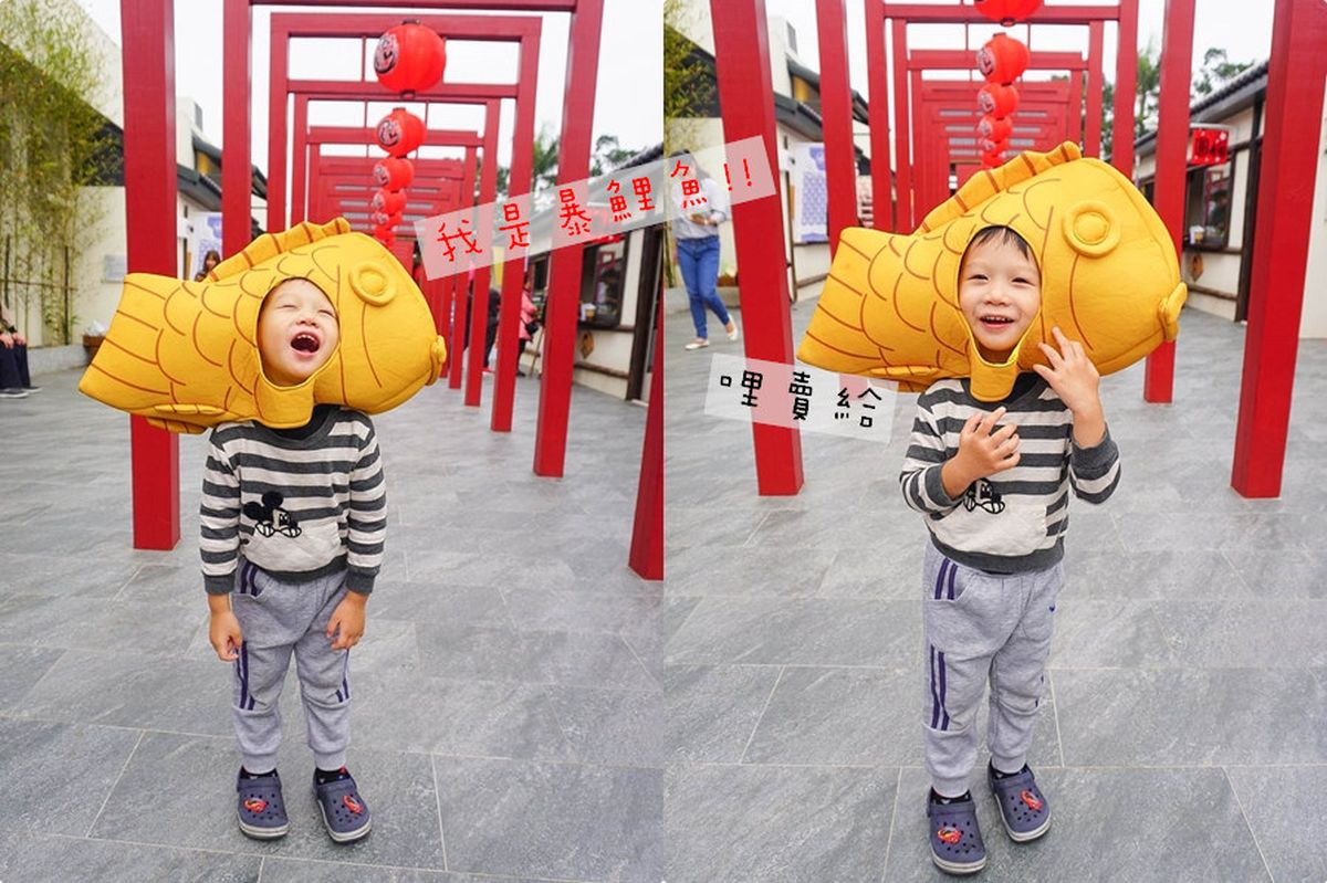 桃園偽出國景點《 蛋寶生技不老村:迷你江戶大街、超大的紅色鳥居、和服體驗、親子遊戲區~現烤蛋卷好吃!