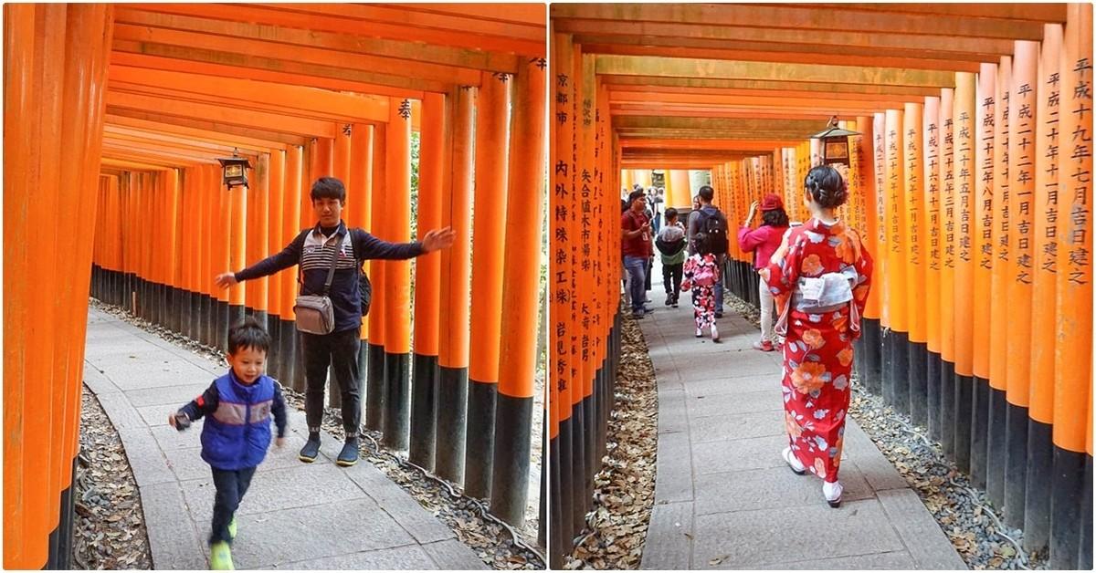 京都必遊親子景點|伏見稻荷大社:超美千本鳥居參觀路線、白天就有廟會小吃、必買辦手禮,日本航空兒童餐飛機餐 @小腹婆大世界