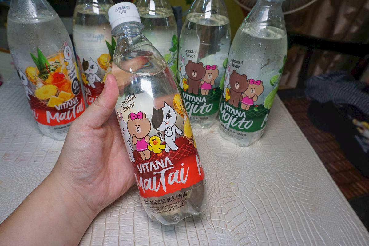 萊爾富超可愛熊大VITANA維泉調酒氣泡水(邁泰/莫西多風味)500ml,原價39元賞味價9元,帶著芒果香好好喝!
