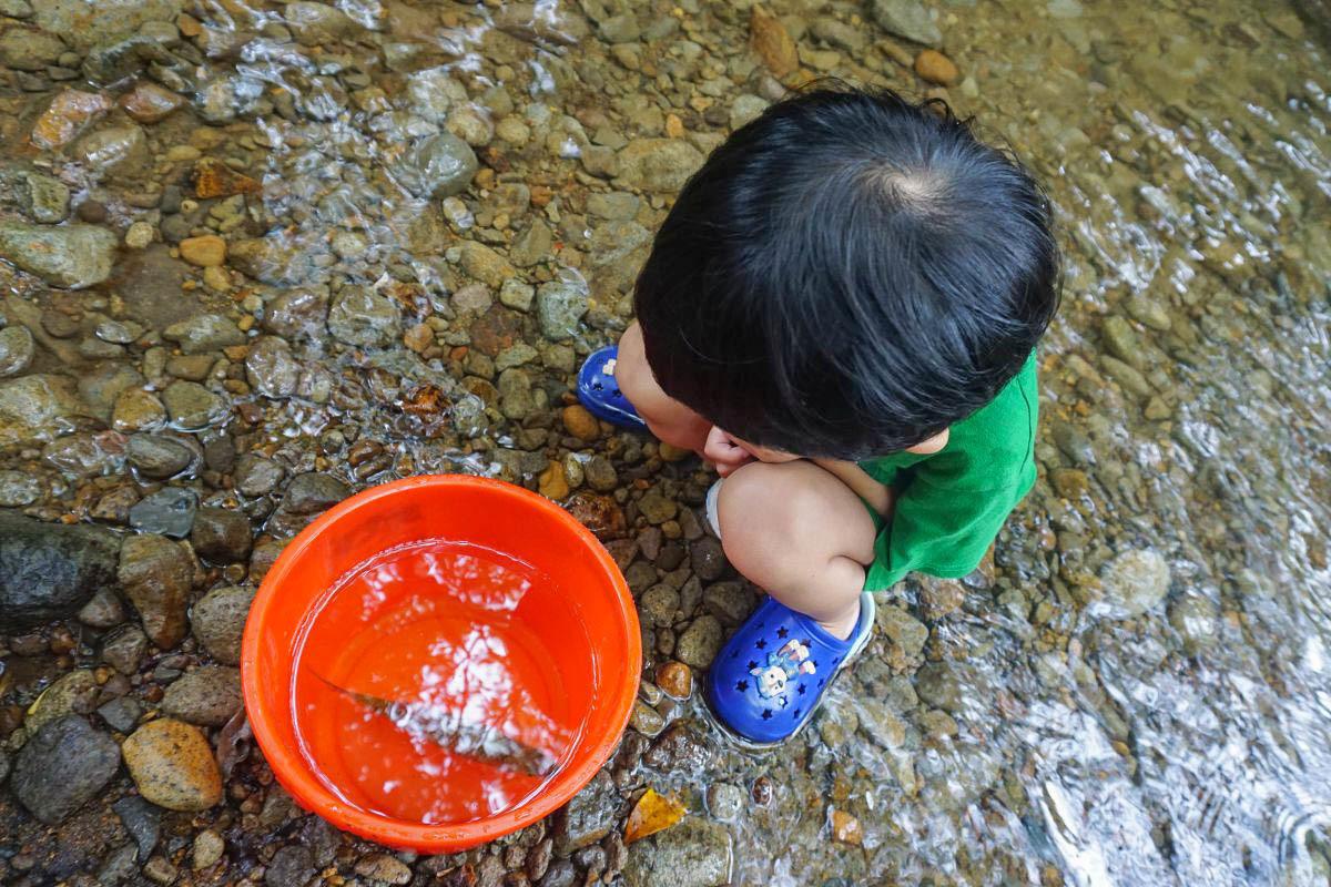 新北萬里》淺沐道休閒農莊.超涼爽消暑勝地、水上盪鞦韆、兒童戲水區、石板烤肉、桶仔雞、吊床、野溪釣魚好好玩!