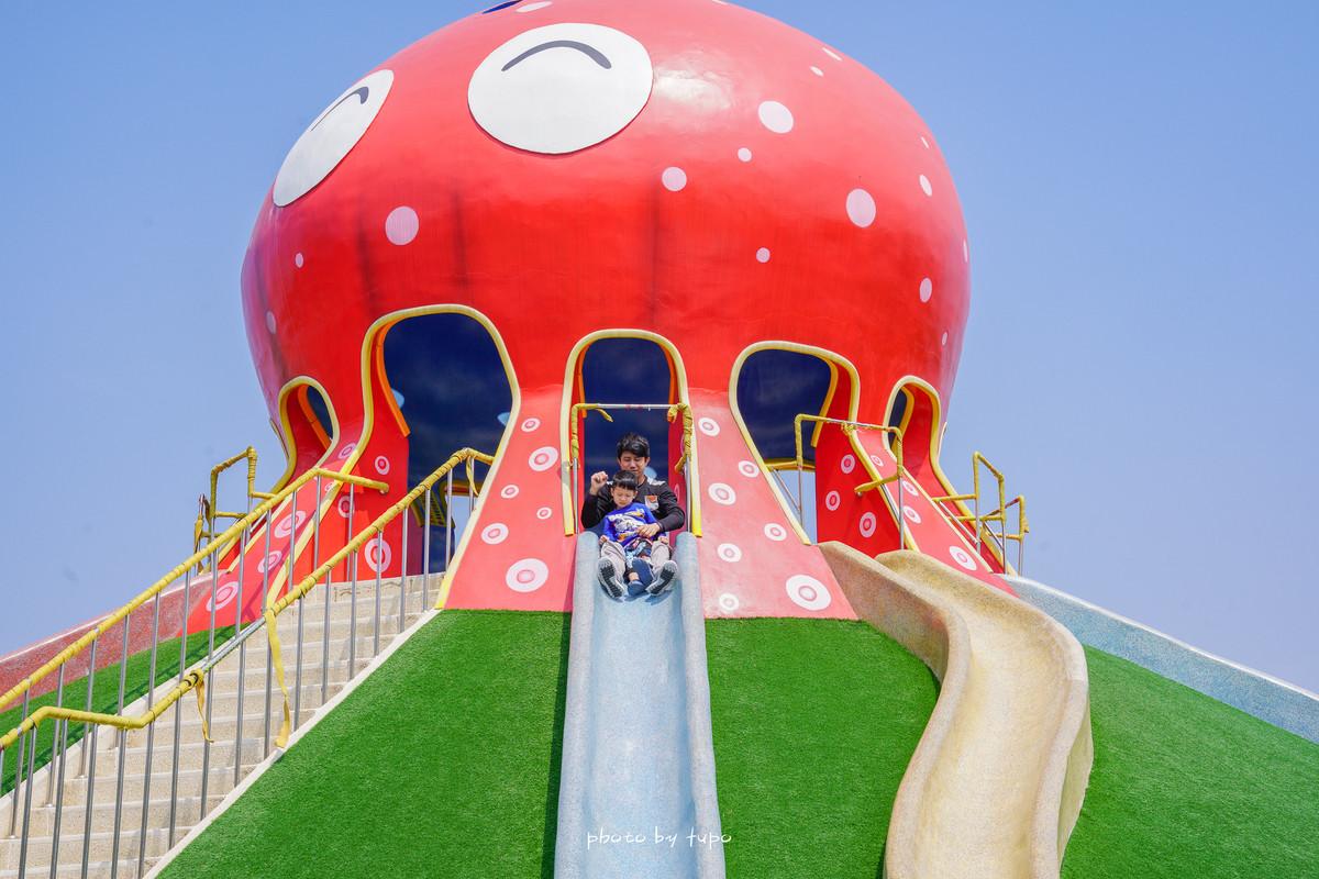 苗栗野餐特色公園|貓裏喵親子公園:九米高大章魚溜滑梯公園、沙堆、貝殼溜滑梯、多人盪鞦韆、海盜船、大草皮野餐親子遊~